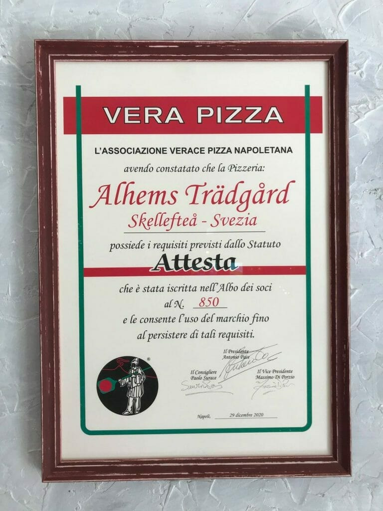 Vera Pizza certifikat Alhems Trädgård